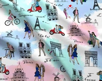 Paris Fabric - Paris By Svetlana Prikhnenko - Paris France Travel Tourist Watercolor Pen And Ink Cotton Fabric By The Yard With Spoonflower