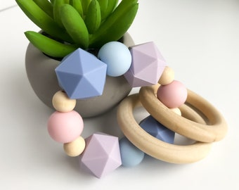 Teether Rattle Ring - pastel hexagons