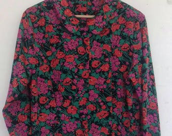 Pink floral silky blouse - M/L