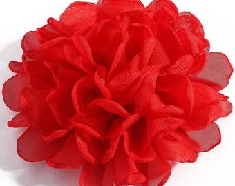 Red Chiffon Fabric  Flower / 4 inches wide /   FLW-06  NO CLIPS
