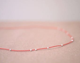 Tiny Sterling Silver Beads (12pcs) Silk Cord Necklace