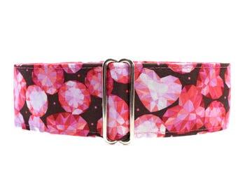 Martingale Dog Collar, Valentine Dog Collar, 2 inch Martingale Collar, Jewels Martingale Collar, Whippet Collar, Jewels Dog Collar