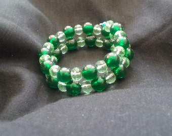 Green Beaded Memory Wire Bracelet, Memory Wire Bracelet, Green Beaded Jewelry, Green Bracelet, Women's Bracelet, Ready to Ship