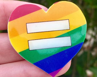 Rainbow Heart Equality Pin, Marriage Equality, LGBT Pride, Gay Rights, Brooch Lapel Pin, June Pride Month, Equality March