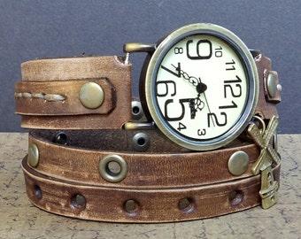 Rustic leather watch, Wrap Watch, Womens leather watch, Vintage looking Bracelet Watch, Wrist Watch, Brown