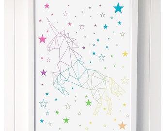 Geometric Unicorn Rainbow Print