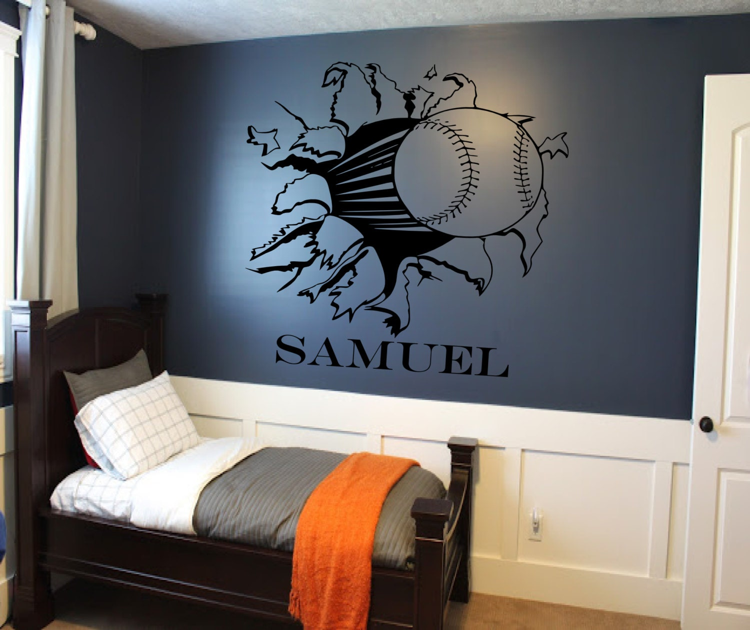 Custom Baseball Or Softball Bursting Through Wall Decal