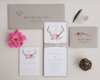 Rustic Wedding Antler Invitation Suite with Twine Wrap - Blush Floral Antler Wedding Invitation SAMPLE