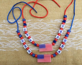 1 | USA Necklace | American Flag Jewelry | 4th of July | Kids Crafts | BEAD KIT