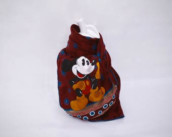 """Scarf """"Mickey"""" mouse and weight patterned silk"""