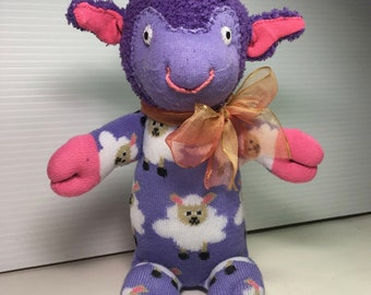 HYACINTH a lavendar lamb. Say I Love Ewe with this sock sweetie, an adorable Easter Basket gift who will be loved after the candy is gone.