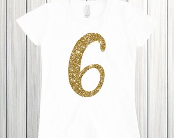 6 Birthday Shirt, Six Year Old Birthday Shirt, Six and Sassy, Birthday Girl Shirt, Glitter Birthday Shirt, 6th Birthday Shirt Sixth Birthday