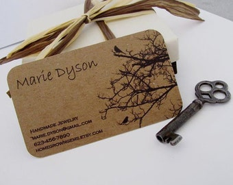 "250 tags or business cards - 3.5""x1.5"" - single Sided full color - 20 PT THICK Kraft board/paper - environmentally friendly"