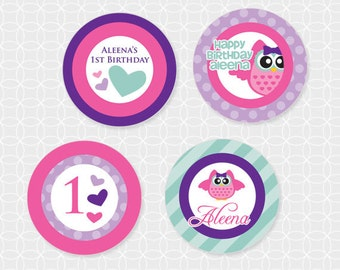 Owl Theme Party Circles - Personalized Printable - purple, teal, owlette, cupcake toppers