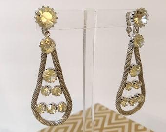 Stunning Vintage Silver Huge Metal Mesh Rhinestone Dangle 60's Earrings