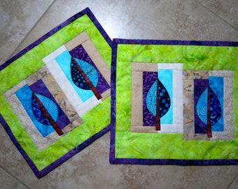 Set of 2 Mini Quilts TWIN LEAVES from Quilts by Elena