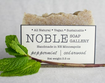 Peppermint/Cedarwood Soap - Vegan Soap - All Natural, Vegan, Sustainable, Cold Process, Peppermint, Cedarwood
