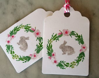 Easter gift tags, Easter, Spring gift tags, Spring, rabbit gift tags, bunny gift tags, watercolor Easter tags, Spring party favor tags