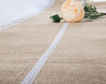 """Natural Jute Burlap Table Runner with White Lace 12"""" Wide,  Vintage Wedding Decorations, Bridal Shower, Baby Shower, Rustic Decor."""