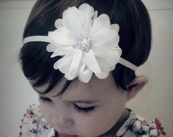 Newborn Baby girl toddler headband. christening headband. baptism headband