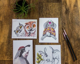 Candid Desert Wildlife 4 pack Cards