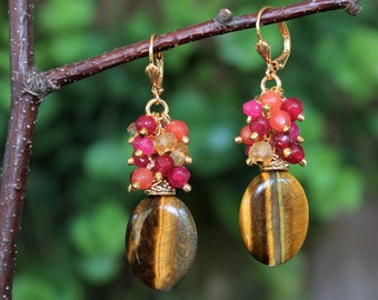 Tiger Eye Multi Gemstone Cluster Earrings.Brown.Yellow Citrine.Ruby Red Jade.Dangle.Bridal.Statement.Chandelier.Colorful.Formal.Handmade.