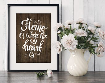 Home Is Where The Heart Is, home, heart, house warming, newly weds, anniversary, gift, home decor, art, print, poster