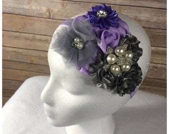 Lavender and gray Over the top flower headband