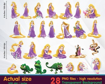 Princess Rapunzel clipart -  tangled clipart Digital 300 DPI PNG Images, Photos, Scrapbook, Cliparts - Instant Download