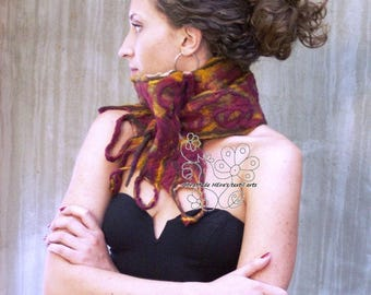 Burgundy and mustard nuno felted scarf made of merino wool in boho style gift for women