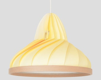 NEW: paper and wood lamp Wave pastel yellow