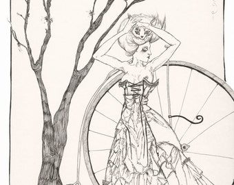 "8x12 Photo Art Print ""Penny Farthing"" - Ink Illustration"
