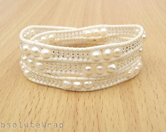 White freshwater pearl wrap bracelet with glass beads on soft polyester cord, white wrap bracelet