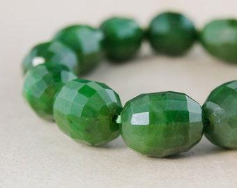 Green Nephrite Jade Bracelet - Faceted Jade Beads - Statement Bracelet