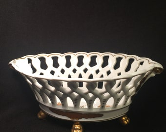 """Unmarked Vista Alegre Porcelain Console Bowl, Basket, Reticulated Sides, Gold Trim, """"Hand-Painted"""", Gilt Paw Feet, Made in Portugal."""