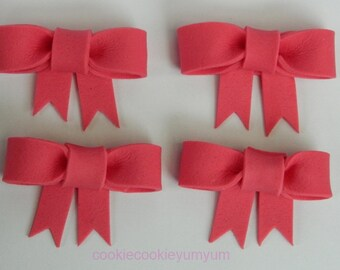 12 edible RIBBON BOW MINNIE mouse cake cupcake toppers decorations party wedding anniversary birthday bows presents christening