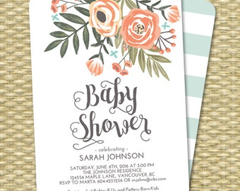 Gender Neutral Floral Baby Shower Invitation Coral Peach Mint Baby Shower Sip and See Diapers and Wipes ANY EVENT