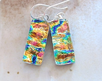 Gold Earrings, Blue, Aqua, Petite, Dichroic Glass, Fused Glass Jewelry, Dangle, Sterling Silver, A9