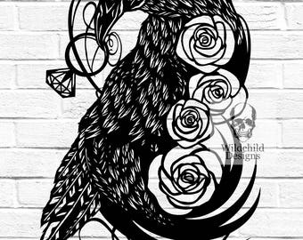 Raven Engagement or Anniversary Personal Use Paper Cutting Template for Personal or Commercial Use Announcement Congratulations Roses Love