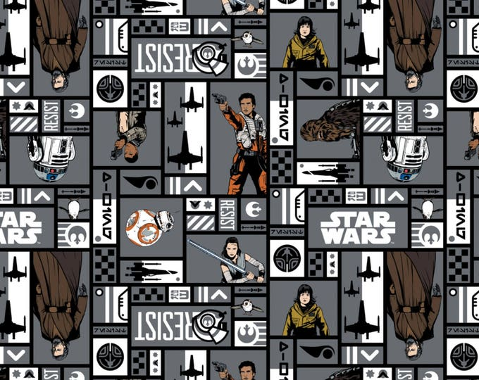 Star Wars The Last Jedi by Camelot - Resistance Heroes Iron - Cotton Woven Fabric