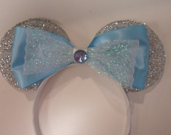 Minnie Mouse Ears Sparkly Silver Ears-Cinderella Ears-Sleeping Beauty Headband-Frozen Ears