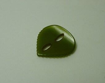 """Vintage Bakelite Button, Green Guitar Pick Shape, Crimped Edges 7/8"""""""