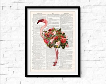 Flamingo Print, Flamingo wall art, vintage dictionary page book art print,Pink Flamingo Art Print