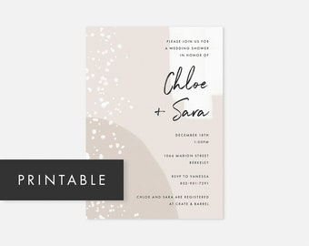 Lesbian Bridal Shower Invitation / Printable Wedding Shower Invitations / Printable Modern Bridal Shower Invites / DIY Bridal Shower Invites