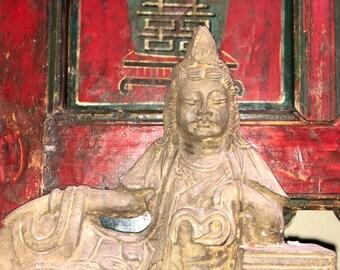 Sitting Guanyin, Quanyin, Vintage Stone Quan Yin, Quan Yin goddess, Quan Yin, Statue, Fine old Chinese
