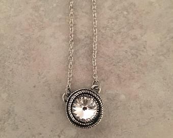 Single stone clear Swarovski crystal necklace