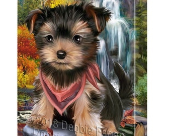 Scenic Waterfall Yorkshire Terrier Dog Canvas Wall Art