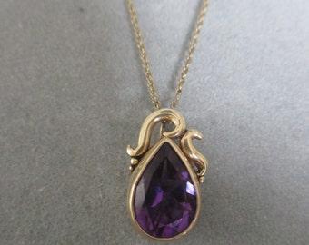 14Kt Solid Gold Asymmetric Swirl Pear Shape Amethyst Pendant, February Birthstone