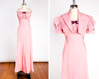 GORGEOUS Vintage 1930s Rose Pink Rayon Taffeta Evening Gown & Matching Embroidered Bolero // Old Hollywood // Puff Sleeve // Silver Screen
