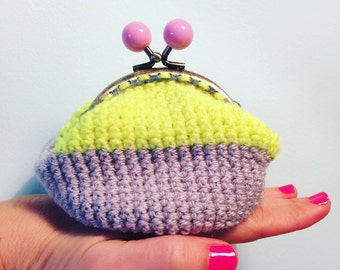 Coin purse, crochet with retro clasp. Neon yellow ,light grey with pastel pink clasp. kids purse! Ladies purse!